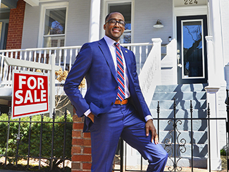 Keith, our mortgage lending officer in front of a Capitol Hill home